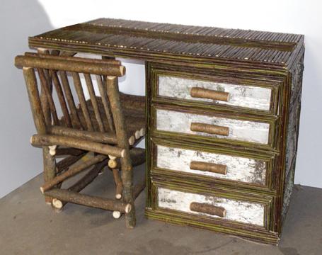 item 422 birch bark desk with chair bark furniture