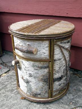 Item# 408 - Round Birch Bark Nightstand  - 1 Drawer