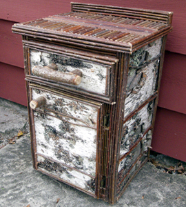 Item# 403 - Square Birch Bark Nightstand - 1 Drawer
