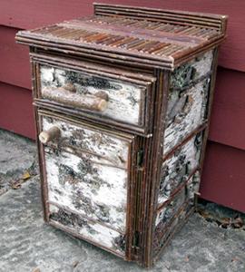 item 403 square birch bark nightstand 1 drawer bark furniture