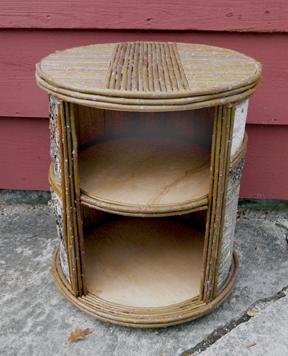 item 404 round birch bark open nightstand bark furniture