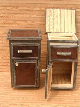 item# 409 - Leather Nightstand w/ Lift Drawer
